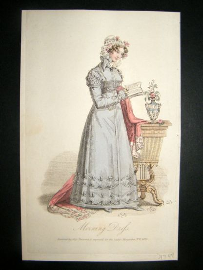 Lady's Magazine 1823 H/Col Regency Fashion Print. Morning Dress 47 | Albion Prints